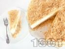 Рецепта Чийзкейк с блат от бисквити, орехи и овесени ядки с желатин, заквасена сметана и крема сирене без печене